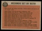 1962 Topps #144 GRN  -  Babe Ruth Farewell Speech Back Thumbnail