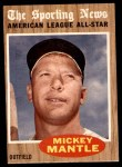 1962 Topps #471   -  Mickey Mantle All-Star Front Thumbnail
