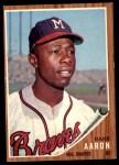 1962 Topps #320  Hank Aaron  Front Thumbnail