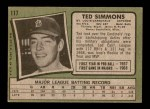 1971 Topps #117  Ted Simmons  Back Thumbnail