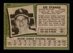 1971 Topps #311  Lee Stange  Back Thumbnail