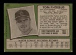 1971 Topps #611  Tom Phoebus  Back Thumbnail