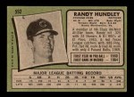 1971 Topps #592  Randy Hundley  Back Thumbnail