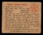 1950 Bowman #251 CPR Les Moss  Back Thumbnail