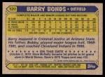1987 Topps #320  Barry Bonds  Back Thumbnail