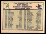 1983 O-Pee-Chees #203   -  Wayne Gretzky Hart Trophy Back Thumbnail