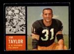 1962 Topps #66  Jim Taylor  Front Thumbnail
