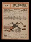 1962 Topps #116  Tommy McDonald  Back Thumbnail