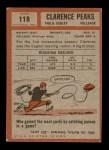 1962 Topps #118  Clarence Peaks  Back Thumbnail