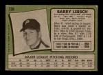 1971 Topps #739  Barry Lersch  Back Thumbnail
