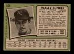 1971 Topps #528  Wally Bunker  Back Thumbnail