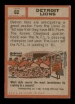 1962 Topps #62   Lions Team Back Thumbnail