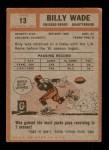 1962 Topps #13  Bill Wade  Back Thumbnail