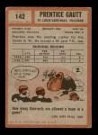1962 Topps #142  Prentice Gautt  Back Thumbnail