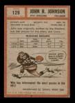 1962 Topps #129  John Henry Johnson  Back Thumbnail