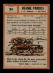 1962 Topps #34  Bernie Parrish  Back Thumbnail
