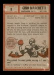 1962 Topps #8  Gino Marchetti  Back Thumbnail