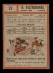 1962 Topps #52  Nick Pietrosante  Back Thumbnail