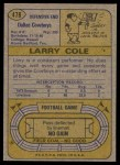 1974 Topps #478  Larry Cole  Back Thumbnail