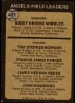 1973 Topps #421 BRN  -  Bobby Winkles / Tom Morgan / Salty Parker / Jimmie Reese / John Roseboro Angels Leaders Back Thumbnail