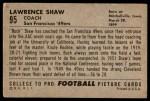 1952 Bowman Large #95  Lawrence Shaw  Back Thumbnail