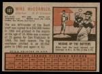 1962 Topps #107  Mike McCormick  Back Thumbnail