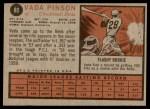 1962 Topps #80  Vada Pinson  Back Thumbnail