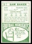 1968 Topps #32  Sam Baker  Back Thumbnail