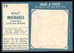 1961 Topps #75  Walt Michaels  Back Thumbnail