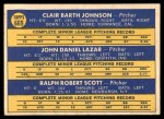 1970 Topps #669   -  Bart Johnson / Dan Lazar / Mickey Scott White Sox Rookies Back Thumbnail