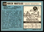1964 Topps #144  Archie Matsos  Back Thumbnail