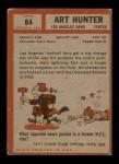 1962 Topps #84  Art Hunter  Back Thumbnail