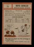 1962 Topps #71  Boyd Dowler  Back Thumbnail