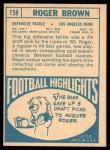 1968 Topps #158  Roger Brown  Back Thumbnail