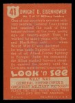 1952 Topps Look 'N See #41  Dwight Eisenhower  Back Thumbnail