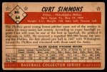 1953 Bowman #64  Curt Simmons  Back Thumbnail