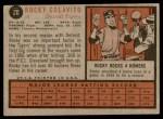 1962 Topps #20  Rocky Colavito  Back Thumbnail