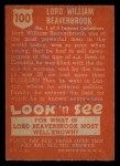 1952 Topps Look 'N See #100  William Beaverbrook  Back Thumbnail