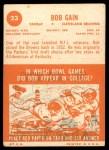 1963 Topps #23  Bob Gain  Back Thumbnail