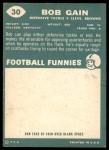1960 Topps #30  Bob Gain  Back Thumbnail