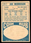 1968 Topps #211  Joe Morrison  Back Thumbnail