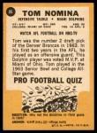 1967 Topps #86  Tom Nomina  Back Thumbnail