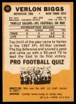 1967 Topps #91  Verlon Biggs  Back Thumbnail