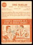 1963 Topps #152  Ernie McMillan  Back Thumbnail
