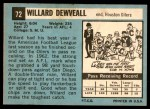 1964 Topps #72  Willard Dewveall  Back Thumbnail