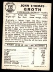 1960 Leaf #133  Johnny Groth  Back Thumbnail
