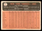 1966 Topps #92   Yankees Team Back Thumbnail
