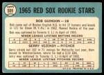 1965 Topps #509   -  Bob Guindon / Gerry Vezendy Red Sox Rookies Back Thumbnail