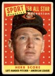 1958 Topps #495   -  Herb Score All-Star Front Thumbnail