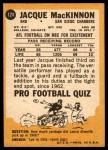 1967 Topps #124  Jacque MacKinnon  Back Thumbnail